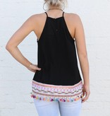 Tassel Halter Cami with Embroidery