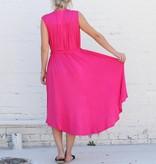 V Neck Midi Tie Dress