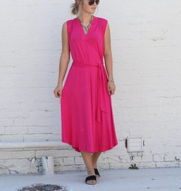 V Neck Midi Tie Dress