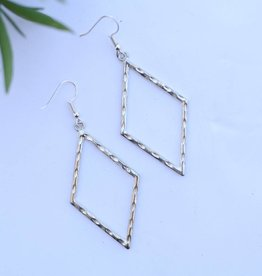 Burnished Silver Hammered Diamond Shape Earring