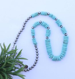 Turquoise Graduated Disc Bead with Silver Bead Accent Necklace