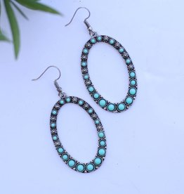Burnished Silver Oval Earring with Turquoise Stone Inlay