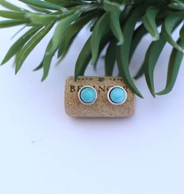 Silver with Inlayed Turquoise Stud
