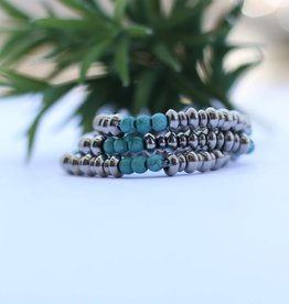 3 Strand Silver with Round Turquoise Beads Stretch Bracelet