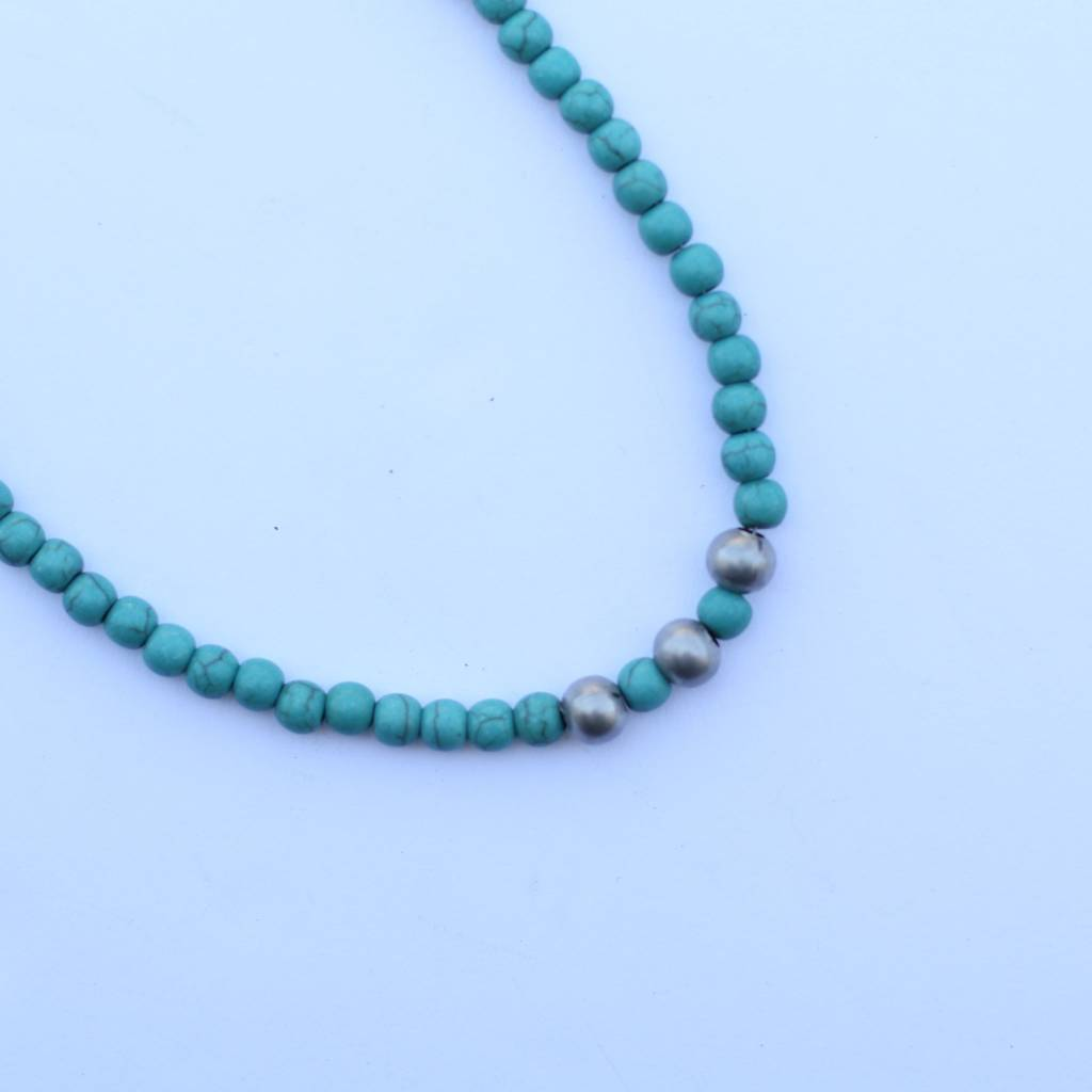 """14"""" Single Strand Mini Turquoise Necklace with Silver Accent"""