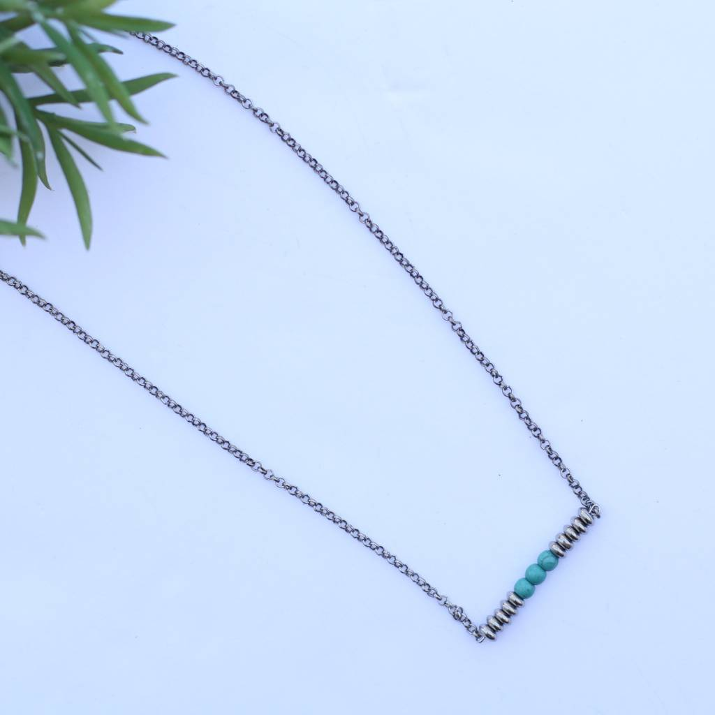 "Punchy's 20"" Silver Chain Necklace with Silver & Turquoise Bar"