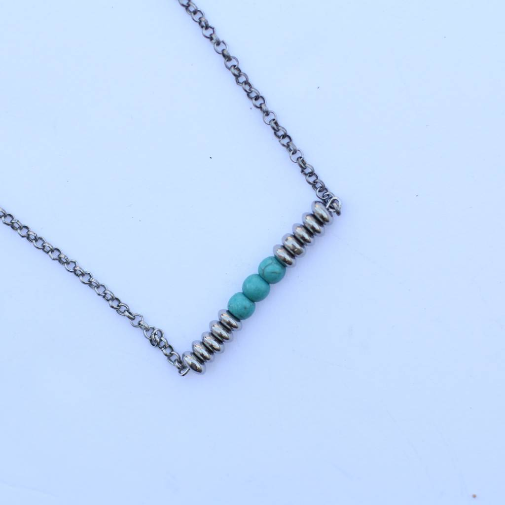 "20"" Silver Chain Necklace with Silver & Turquoise Bar"