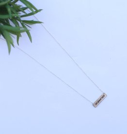Burnished Silver with Gold Texas Bar Chain Necklace