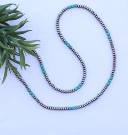 "30"" Single Strand Saucer Bead and Turquoise Necklace"