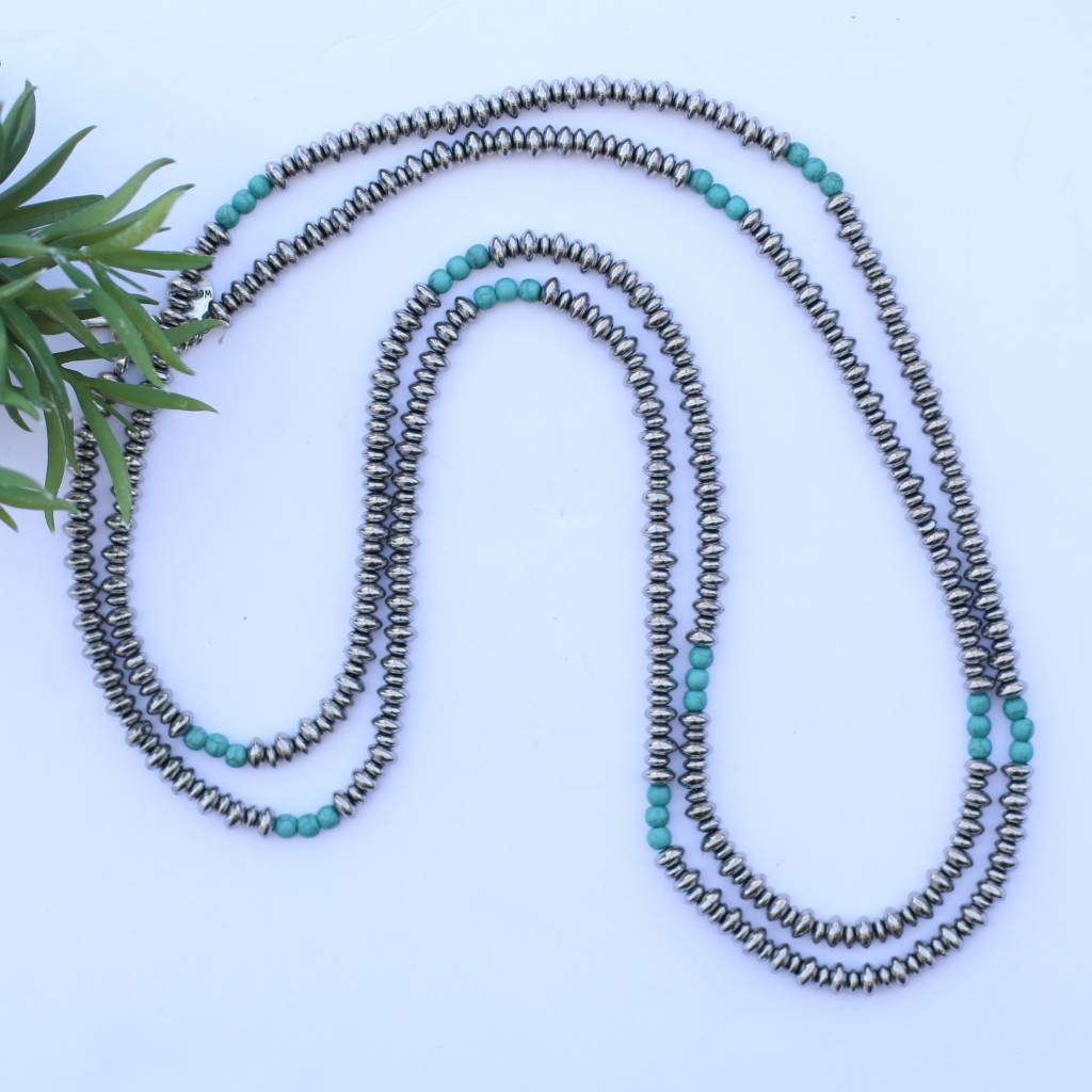 "Punchy's 66"" Single Strand Saucer Bead and Turquoise Necklace"