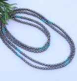 "66"" Single Strand Saucer Bead and Turquoise Necklace"
