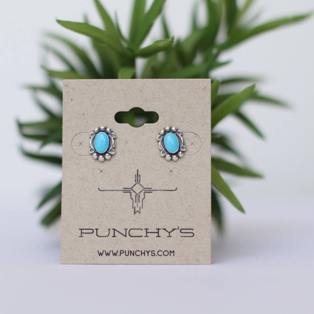 Sterling Silver Oval Scrolled Turquoise Stud