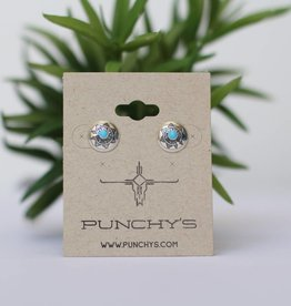 Punchy's Small Sterling Silver Turquoise Aztec Stud