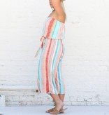 Multi Stripe Wide Leg Romper