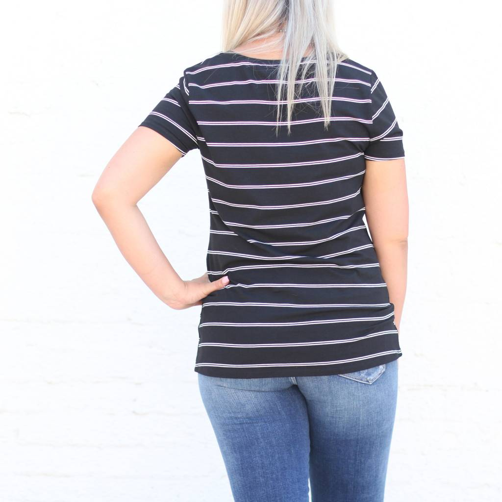 Striped Knotted Basic Tee