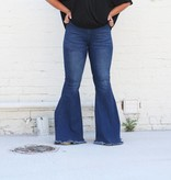 Denim Frayed Hem Bell Bottoms