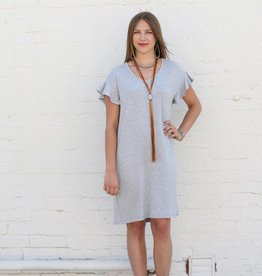 Knit Ruffle Sleeve V Neck Dress