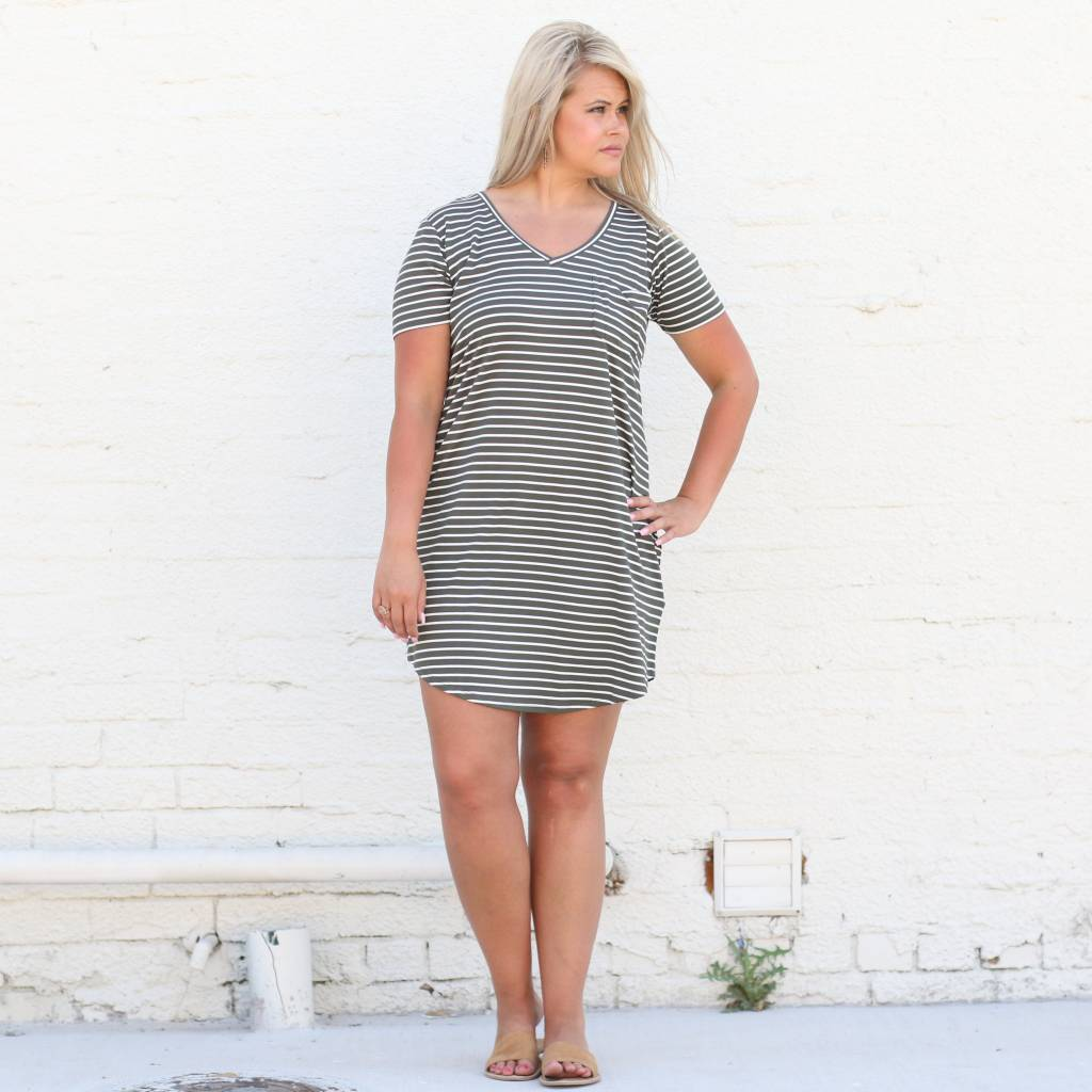 Olive Horizontal Stripe Tee Shirt Dress
