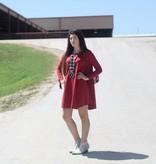 Burgundy Open Back Dress