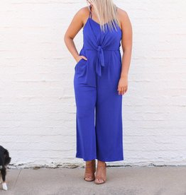 Royal Blue Front Tie Jumpsuit