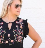 Black Babydoll Embroidered Top