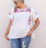 Cream Floral Embroidered Top