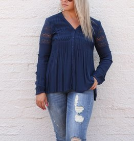 Black Swan Navy Blouse with Lace Sleeve Detail