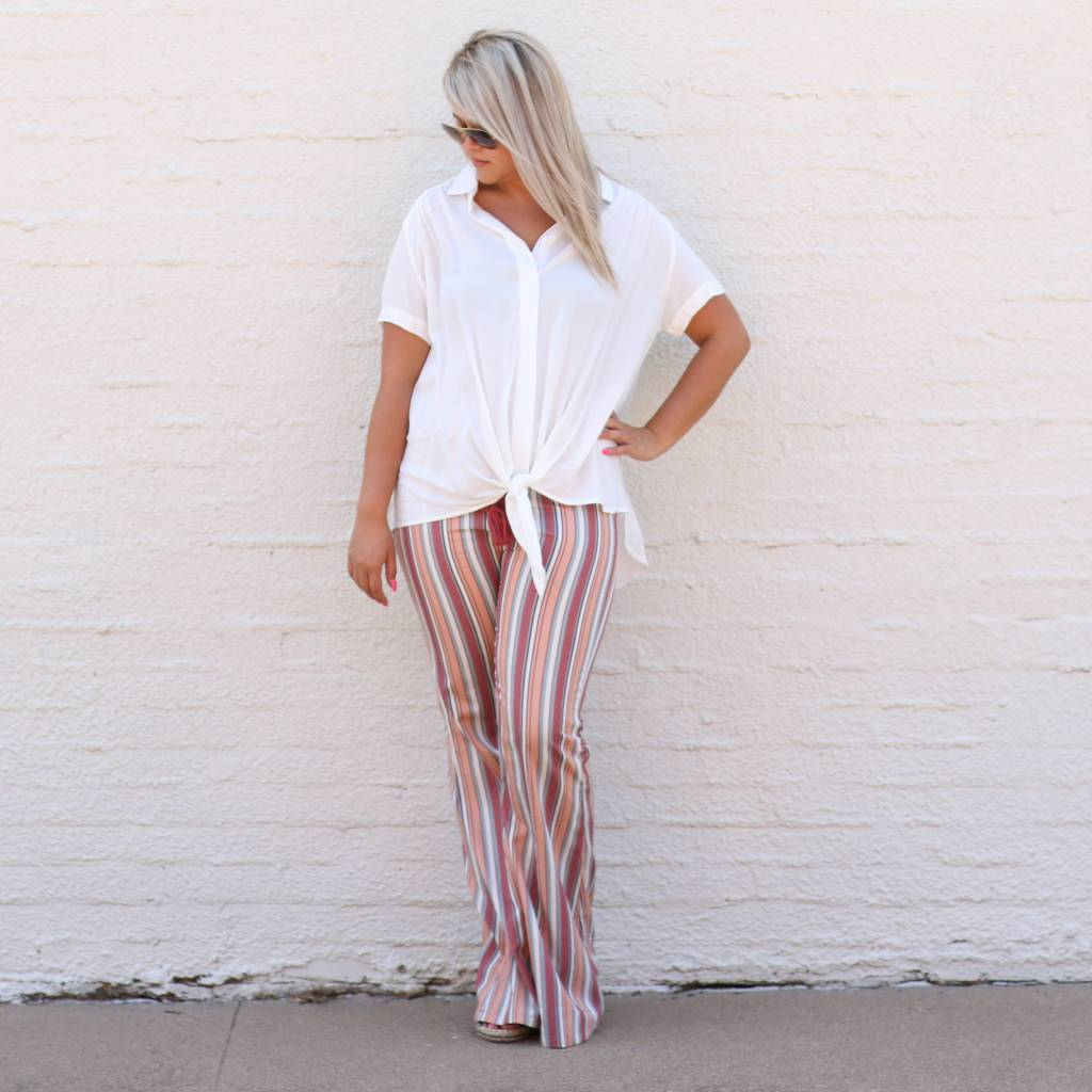 Peach Striped Bell Bottom Pant