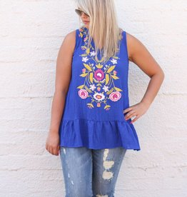 Royal Blue Embroidered Peplum Tank