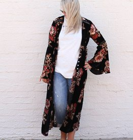 Velvet Burnout Bell Sleeve Duster