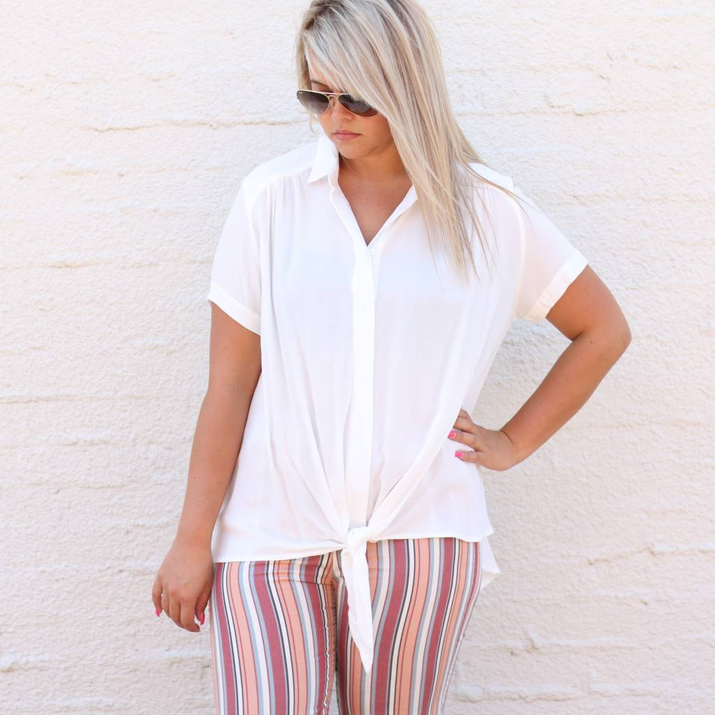 White Button Up Front Tie Blouse