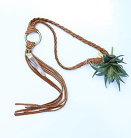 Punchy's Vestige Necklace with braided strap and stone pendant