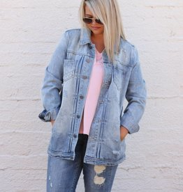 Recycled Distressed Boyfriend Denim Jacket