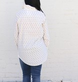 Leaf Print Long Sleeve Button Up