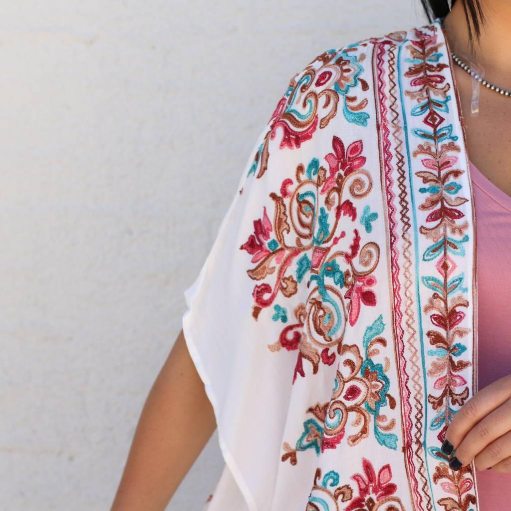 Multicolored Embroidered Kimono