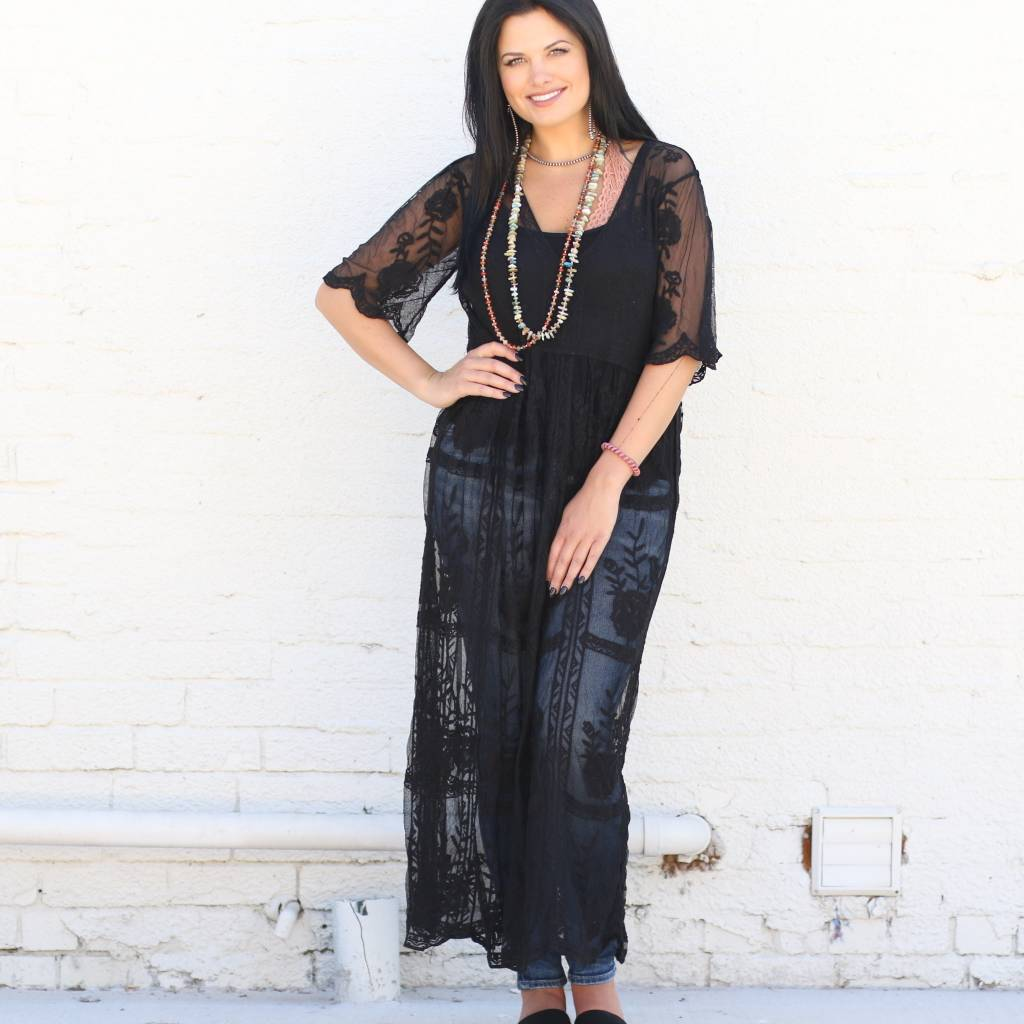 Pullover Lace Maxi Dress