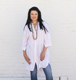 Tribal Twist Red & White Tunic