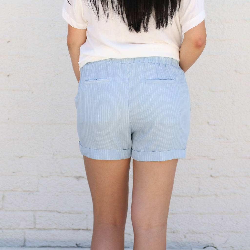 Cuffed Striped Drawstring Shorts