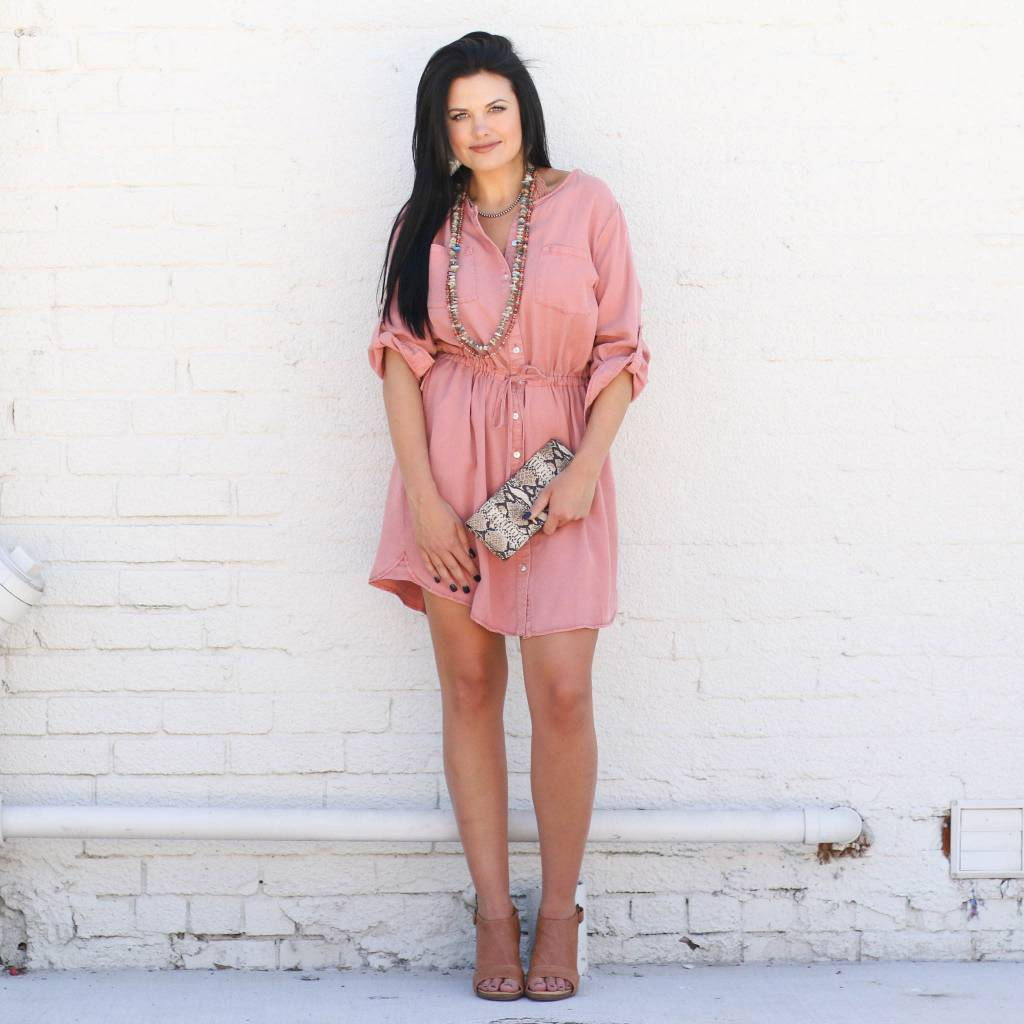 Dusty Rose Shirtdress
