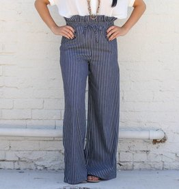 Navy Pinstripe Wide Leg Pants