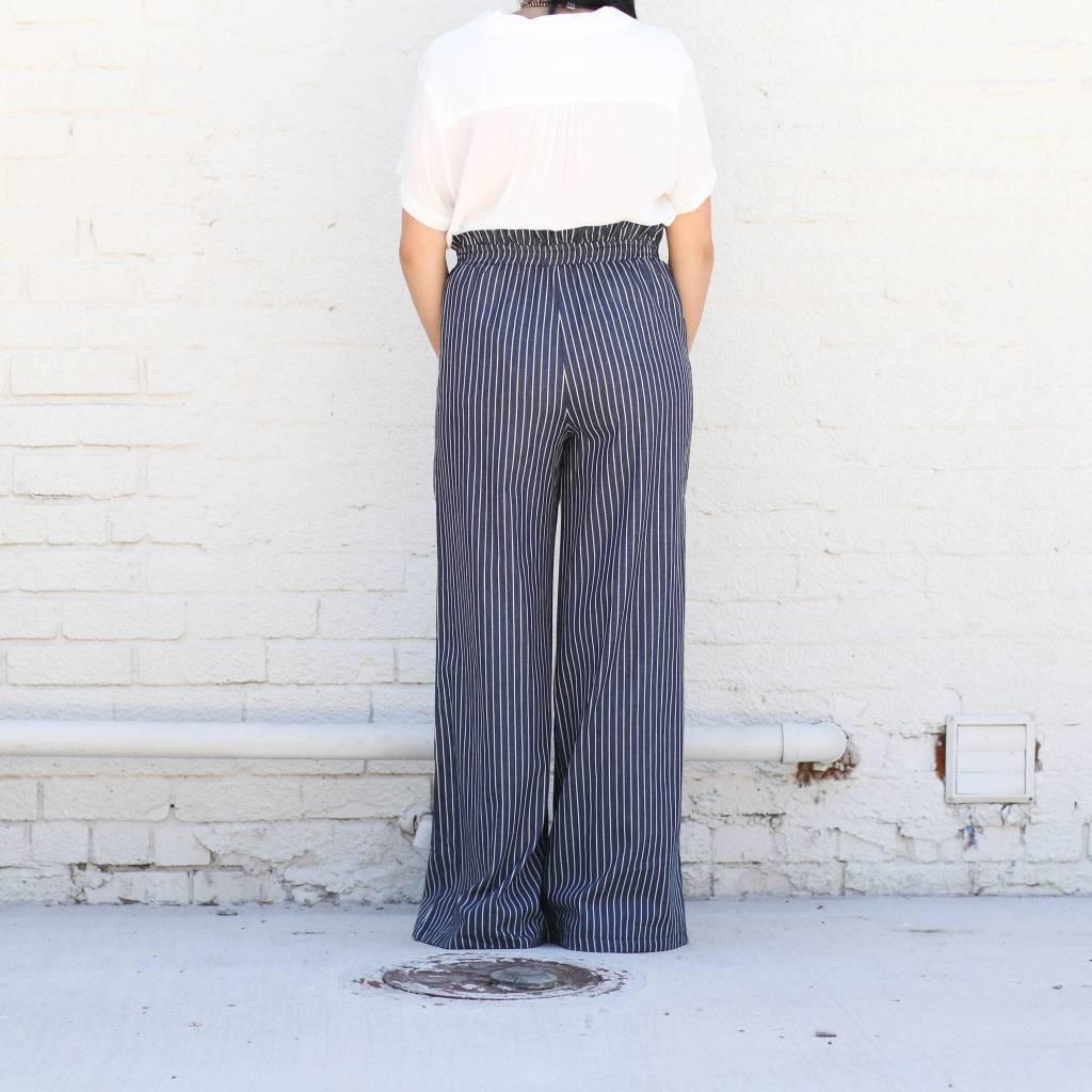 Navy Pinstripe Wide Leg Pants