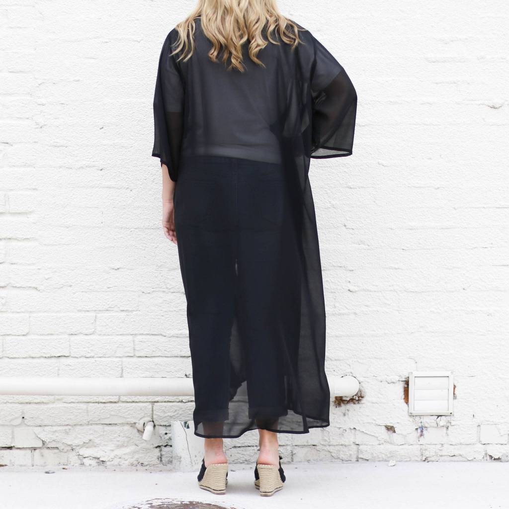 Punchy's BLACK Chiffon Sheer Duster