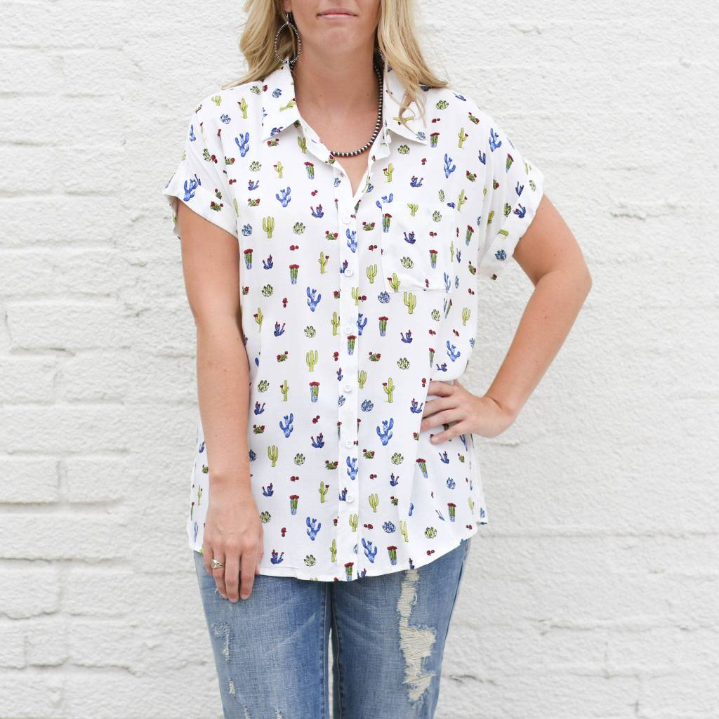 Cactus Short Sleeve Button Up WHITE