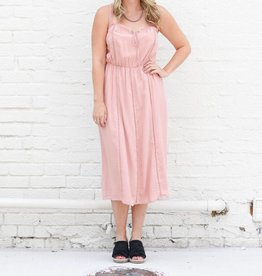 Lace Trim Dusty Rose Midi Dress