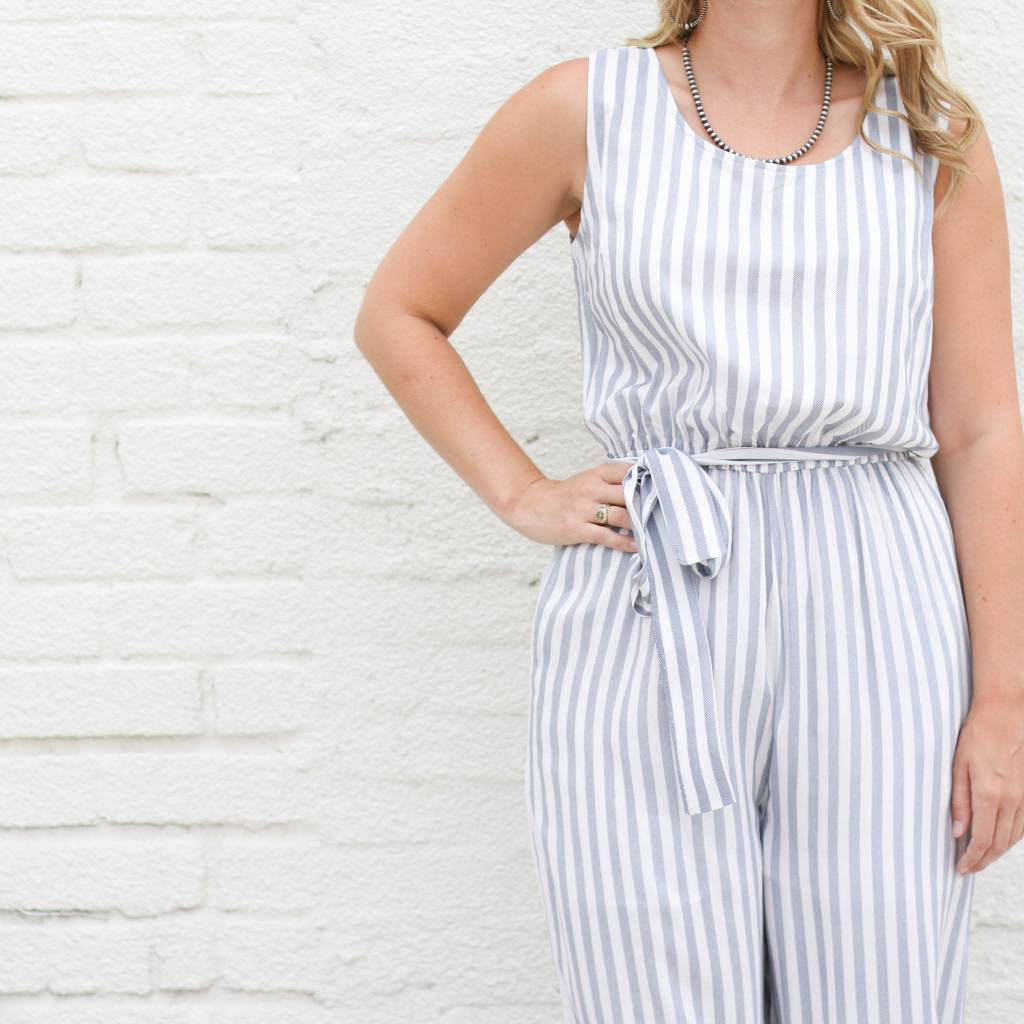 Light Blue and White Striped Jumpsuit