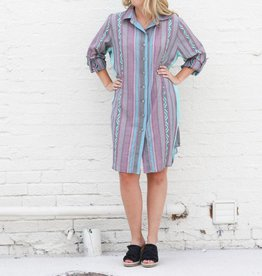 Lavender Turquoise Button Down Dress