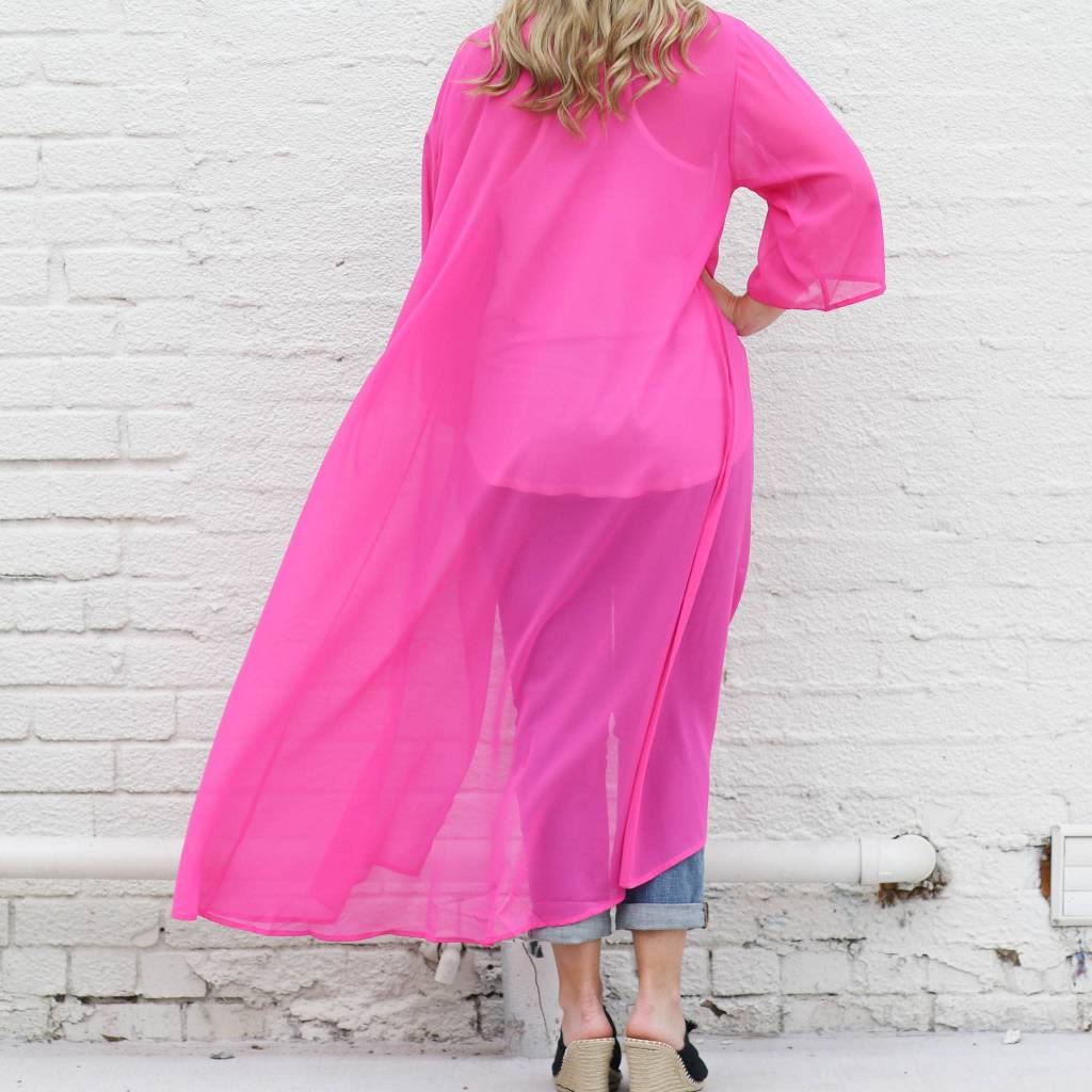 HOT PINK Chiffon Sheer Duster
