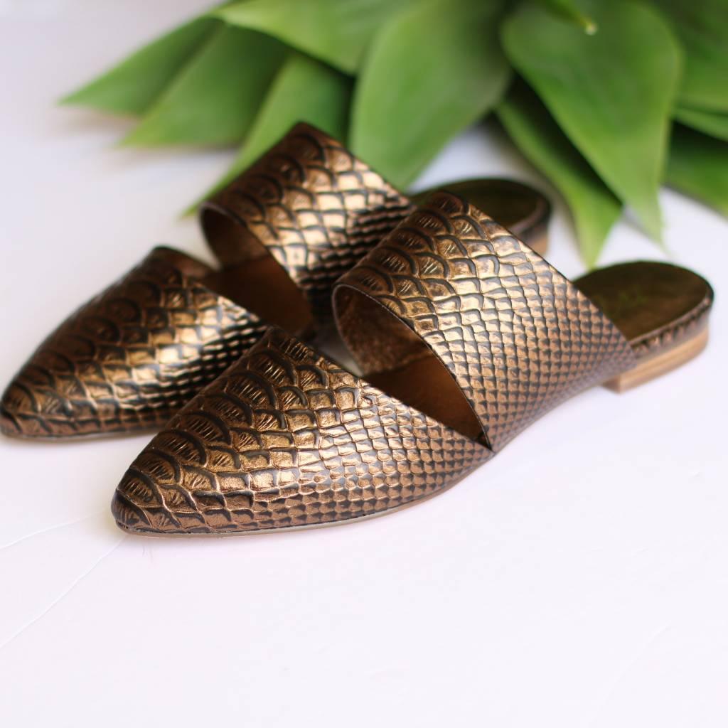 Bronze Snake Print Slip On Mules