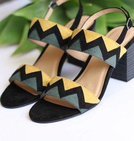 Zig Zag Open Toe Heeled Sandal