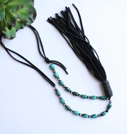 Agate Turquoise Necklace with Black Leather Tassel
